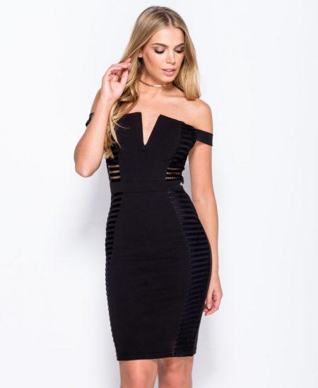 Off shoulder jurk zwart kopen